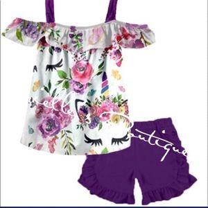 Open shoulder unicorn boutique shorts set